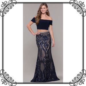 🆕NWT Intricate Two Piece Navy Beaded Formal Dress